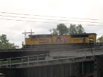 UP 8338 leads an EB doublestack at 12:32pm