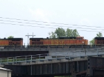 BNSF 4511 #3 power in an EB doublestack at 2:37pm