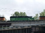 BNSF 8028 #3 power in an EB doublestack/piggyback at 3:24pm