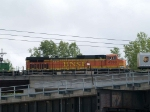 BNSF 4999 #4 power in an EB doublestack/piggyback at 3:24pm