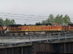 BNSF 4828 #3 power in an EB doublestack at 5:55pm