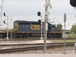 CSX 8211 #3 power in a light power move at 12:39pm