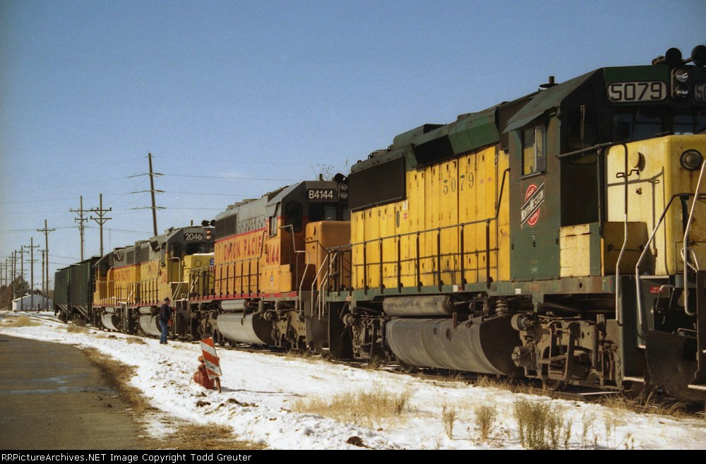 CNW and UP units in a 5-unit lashup on the old Missouri Pacific line.