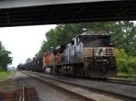 NS 9845 BNSF 4757 and hopper train