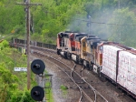 CN 5247, BNSF1100, BNSF 8617 & BNSF 4001 heading out of Bayview  Junction