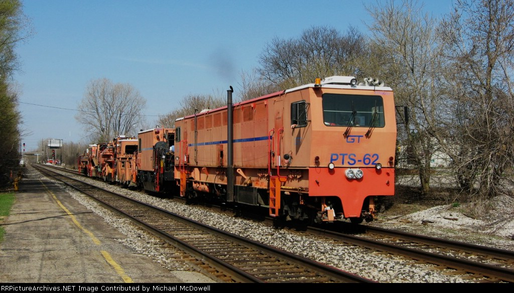 Plasser PTS-62 and MoW train