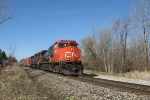CN 2618 leads CN train 392 east