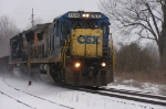 CSX 7570 in the snow