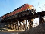 BNSF 5620 crossing the downtown trestle