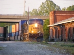 Q197 Passes the Old Depot late in the evening