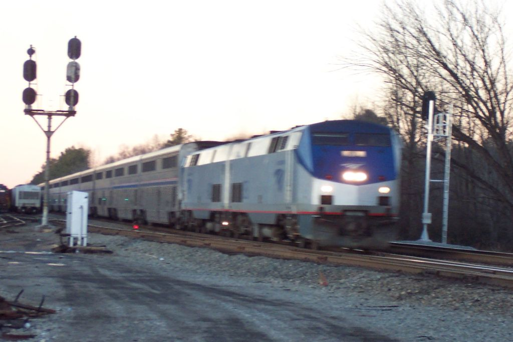 P053 Amtrak's Auto Train marks the end as the sun drew darker