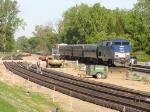 Amtrak Blue Water passes Farm Lane construction.