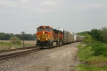 BNSF 745 wheels an auto train west into the Illinois River valley