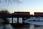 WSOR 4076 leads the JH over Cravath Lake at sunset