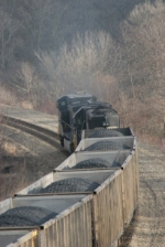 After tying back onto their train they continue east towards Mingo, heading under the OhiRail Bridge