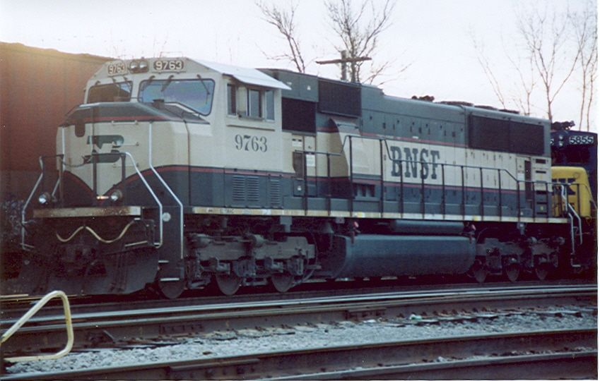 BNSF 9763 in cream and green