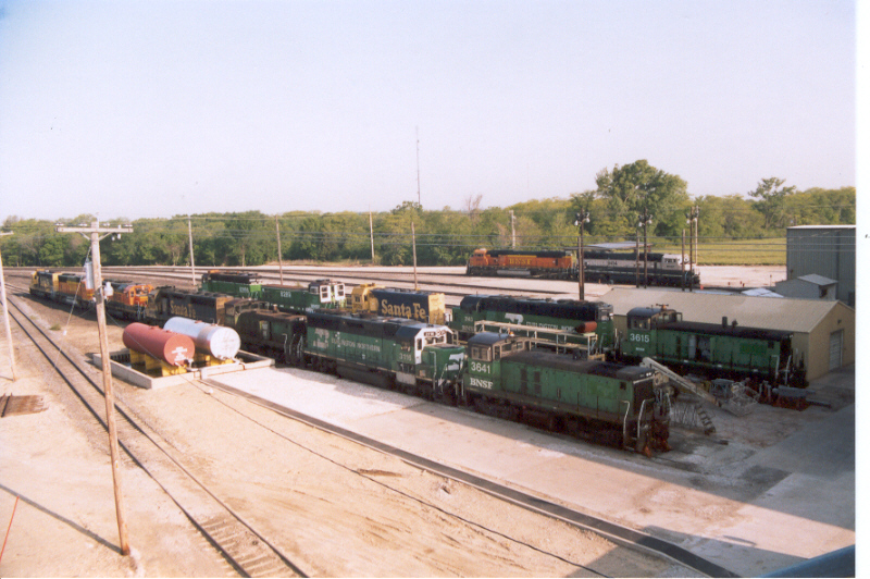 An assortment of various BNSF locos in all diffrent paint schemes
