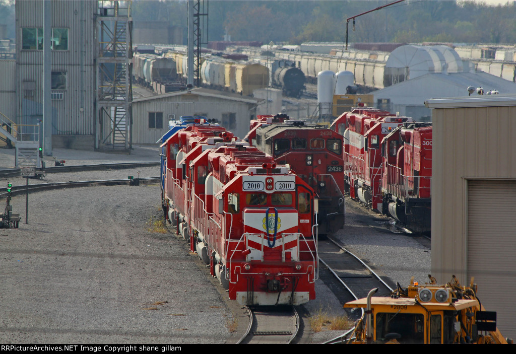 CN 2438 and other's sit in the trra yard note Trra 2010.