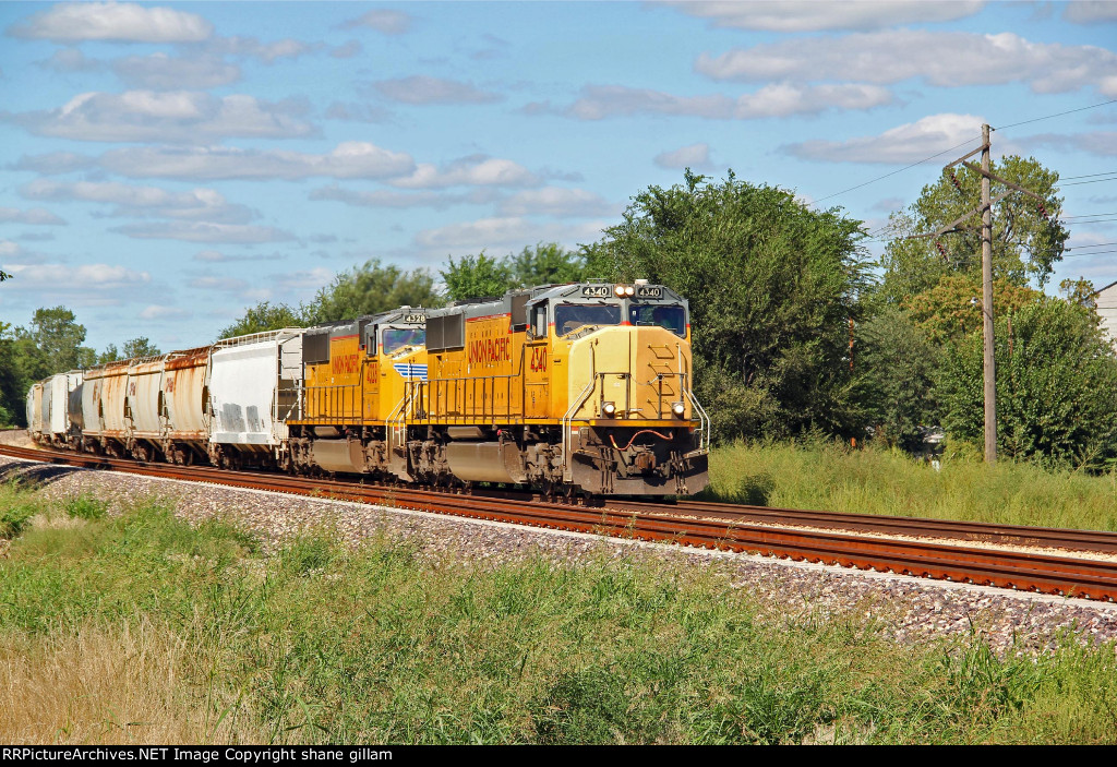 UP 4340 heads up a Sb freight thur east stl Mo.
