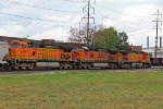 BNSF 5098 and 981 are apart of this freight tied down.