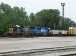 CSX 2485 & 2476 start to pull forward with ballast train D006-03