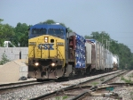 CSX 7866 heads east with Q326-11 and 12 cars
