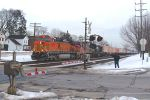 BNSF 5011 with ATSF Dash 8 and NS Humpback