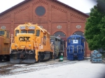 CSX 9699 and BO 6944 (and a Blue locomotive which I do not Know)