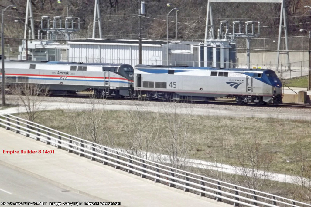 Empire Builder #8 rolls in with 45 heading into the depot