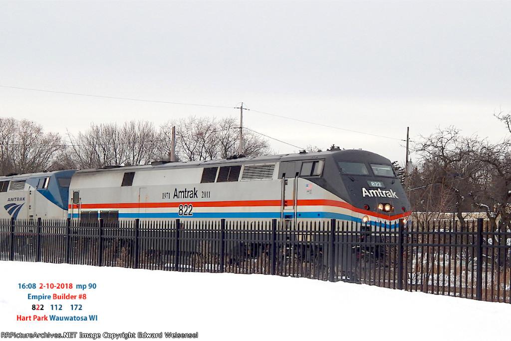 Empire Builder #8 rolls toward its Milwaukee stop over 2 hours behind schedule