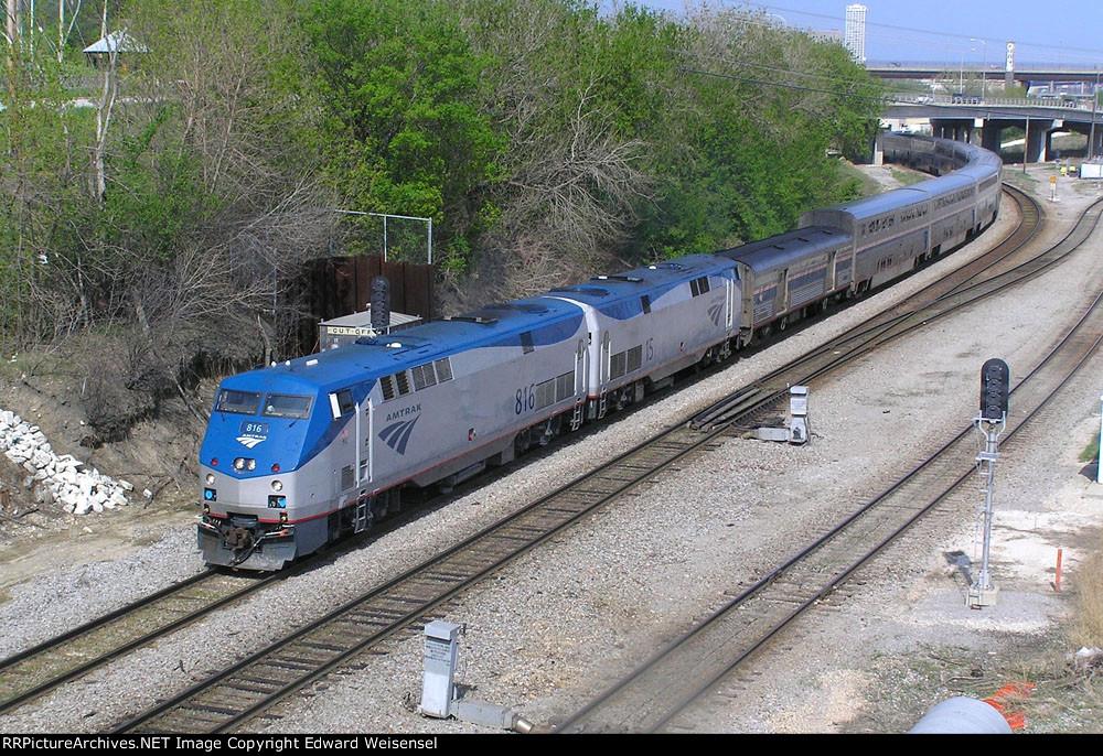 Recently resurrected P40DC 816 leads Empire Builder #7 Sunday thru Cutoff