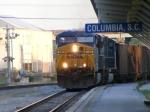 CSX 586 brings a coal train through the Station