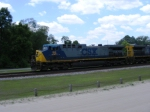 CSX 98 leads an Intermodal past the Platform