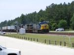 CSX 658 leads a Hot train through town
