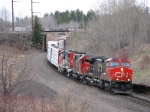 CN 2638 leads a cn freight under the BNSF funnel into Superior