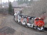 CN 8005 leads a cn freight under the BNSF funnel into superior