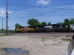 UP 3868 & A NS Without the Horsehead Logo Lead Empties Quickly Through Town