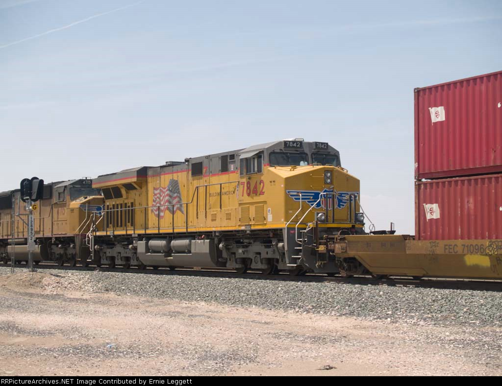 UP 7842 #1 rear DPU in an EB doublestack/autorack at 1:50pm