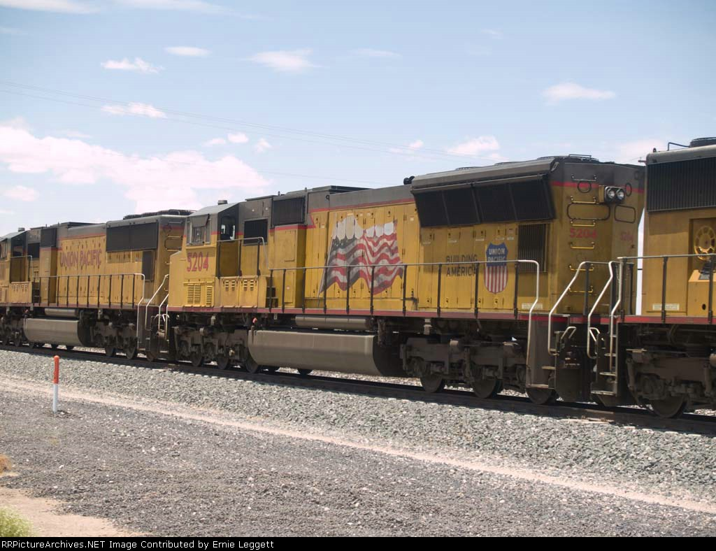 UP 5204 #2 unit in an EB doublestack at 1:41pm