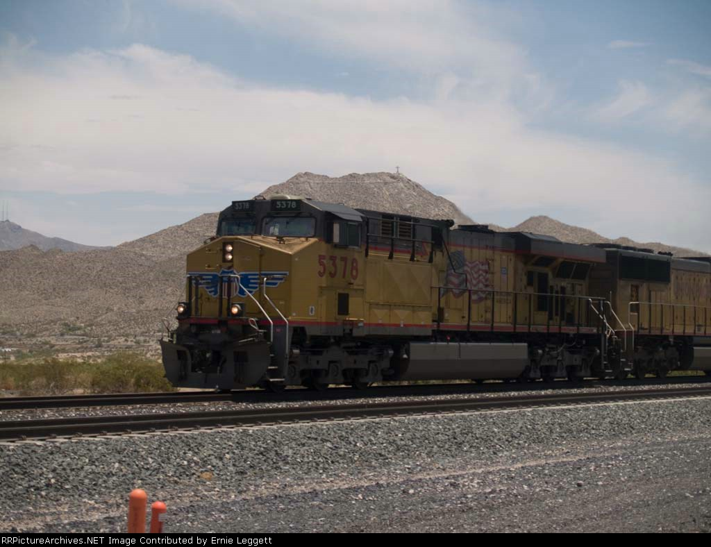 UP 5378 leads a WB doublestack at 12:55pm