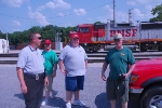 Special Agent Bryan Schaffer takes a momment to educate railfans on rail safety as part of Citizens for Rail Security program