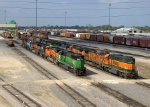 BNSF 2357, 8127, 508, 8619, 6059, EMDX 9075, 9036, and NS7129