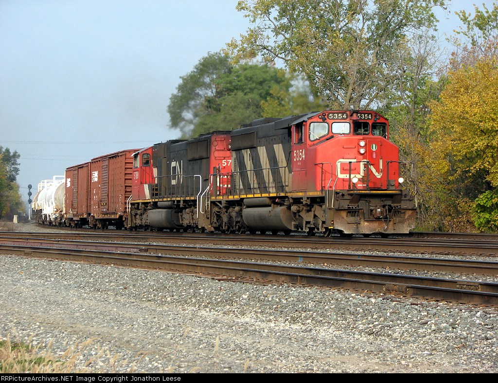17R heads east with run through power off the CN