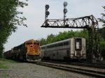 680 awaits a recrew while the Capitol Limited passes under old NYC tri-lights