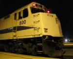 Looking at the front portion of Ex-Amtrak engine, now Metrolink 800