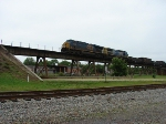 CSX 5399 leads a long freight on the Weldon bridge