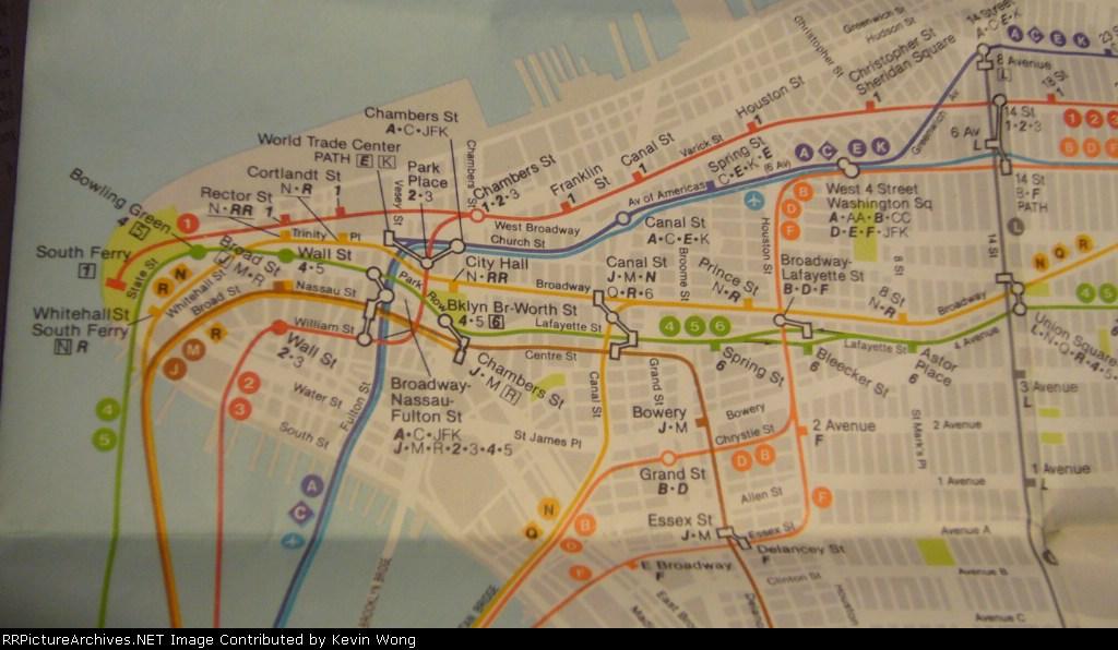 1985 New York Subway map-Lower Manhattan detail