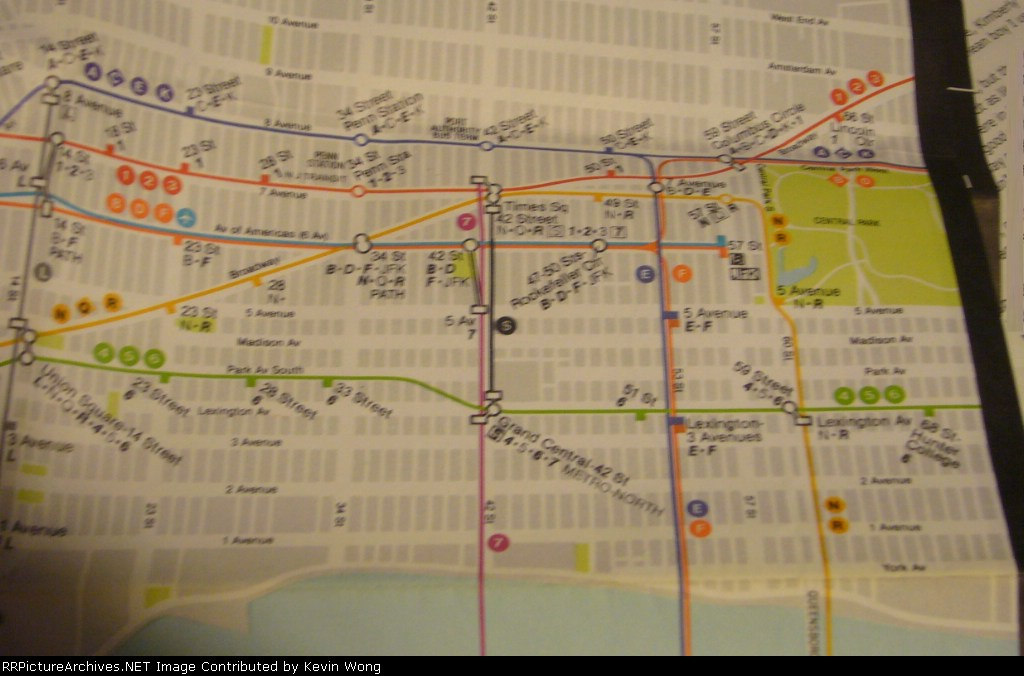 1985 New York Subway map-Midtown Manhattan detail