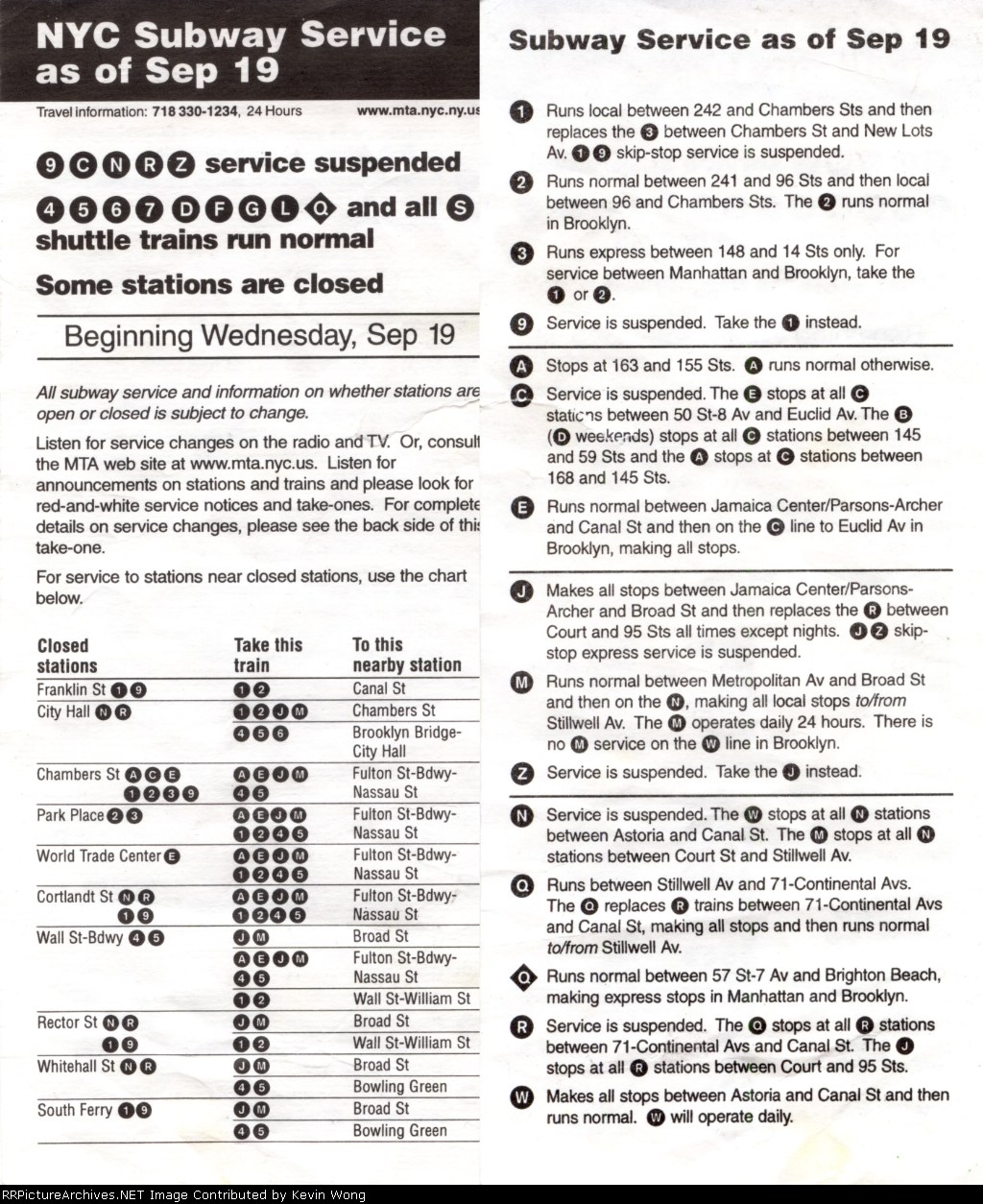 Post-9/11/2001 subway service notice