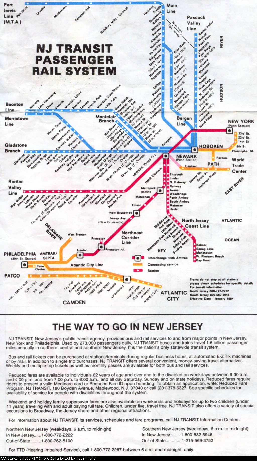 NJ Transit system map/guide, effective January 1984